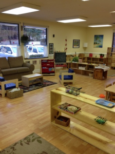 Montessori and Me classes are held in our bright and cheery Toddler room on Wednesdays in April