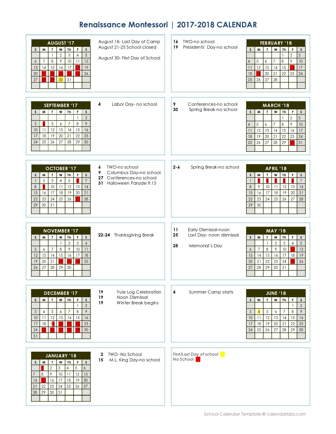 yearly academic calendar