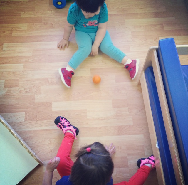 Toddlers playing in a Montessori classroom in Cary, NC